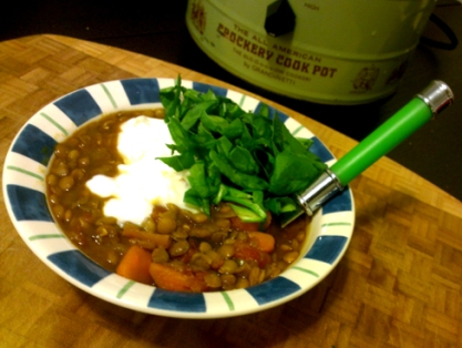 Curry Lentils with chopped Spinach and Greek Yogurt